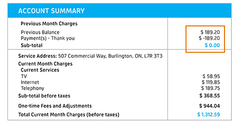 Previous month charges