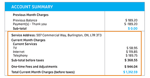 Overview of services and monthly charges