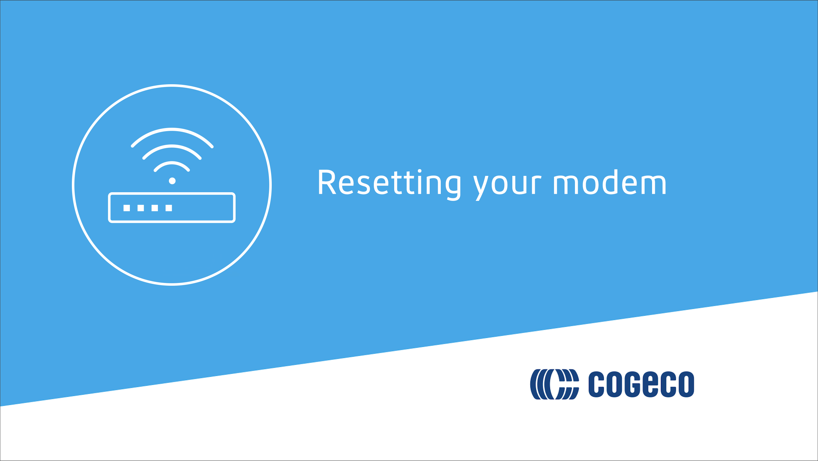Resetting your modem