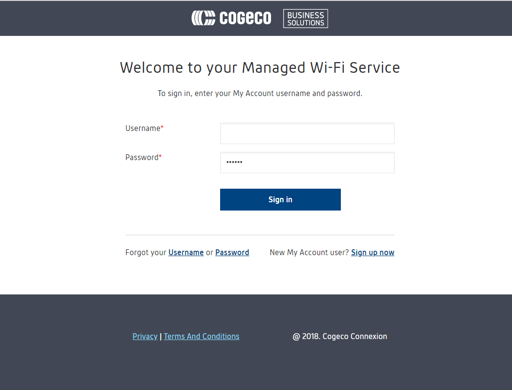 Welcome to your Managed Wi-Fi Service - To sign in, enter your My Account username and password