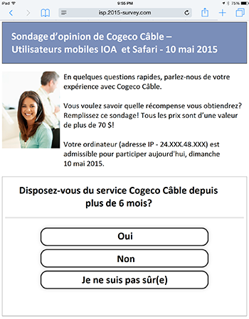 Fraude Cogeco Popup No IP FR