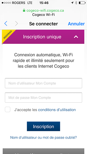 Page d'inscription unique pour les clients de Cogeco Internet