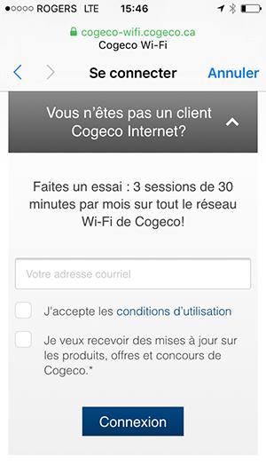 Page de connection pour les non clients de Cogeco Internet