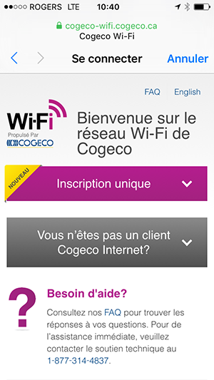 Page de connection sur Cogeco Wi-Fi